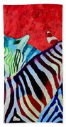 Zebras In Love  Beach Towel