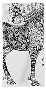 Zentangle Circus Horse Beach Towel by Jani Freimann