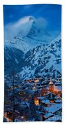 Zermatt - Winter's Night Beach Towel by Brian Jannsen