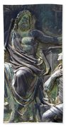 Zeus Bronze Statue Dresden Opera House Beach Towel by Jordan Blackstone