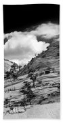Zion National Park In Black And White Beach Towel