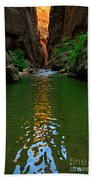 Zion Reflections - The Narrows At Zion National Park. Beach Towel
