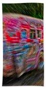 Zooming Graffiti Bus Beach Towel