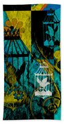 3 Caged Birds Grunge Beach Towel