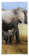 Elephant And Her Child Beach Towel