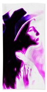 Lady With Hat Beach Towel