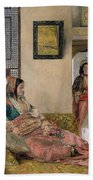 Life In The Harem - Cairo Beach Towel by John Frederick Lewis
