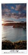 Lydstep Cliffs Sunset Beach Towel