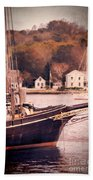Old Ship Docked On The River Beach Towel