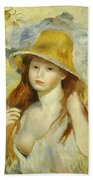 Young Girl With A Straw Hat Beach Towel
