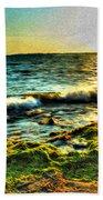 00015 Windy Waves Sunset Rays Beach Towel