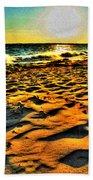 0008 Windy Waves Sunset Rays Beach Towel