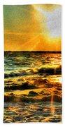 0009 Windy Waves Sunset Rays Beach Towel