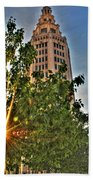 002 Electric Tower At Sunrise  Beach Towel