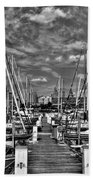 005bw On A Summers Day  Erie Basin Marina Summer Series Beach Towel