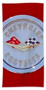 1958 Chevrolet Corvette Emblem Beach Towel