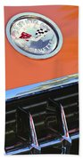 1958 Chevrolet Corvette Hood Emblem Beach Towel