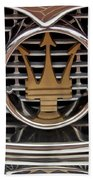 1960 Maserati 3500 Gt Coupe Emblem Beach Towel