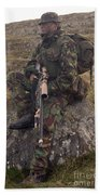A British Soldier Armed With A Sniper Beach Towel