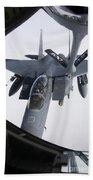 Air Refueling A F-15e Strike Eagle Beach Towel by Daniel Karlsson