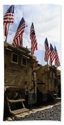 American Flags Are Displayed Beach Towel