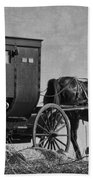 Amish Buggy Black And White Beach Towel