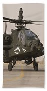 An Ah-64 Apache Helicopter Taxiing Beach Towel