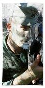 An Army Ranger Sets Up An Anpaq-1 Laser Beach Sheet