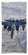 An F-15e Strike Eagle Soars Beach Towel