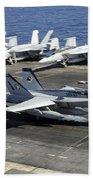 An Fa-18e Super Hornet Lands Aboard Beach Towel