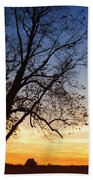 Bare Tree At Sunset Beach Towel