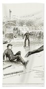 Baseball On Ice, 1884 Beach Towel
