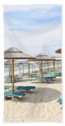 Beach Umbrellas On Sandy Seashore Beach Towel