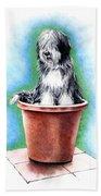 Beardie In A Pot Beach Towel