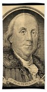 Ben Franklin In Sepia Beach Towel