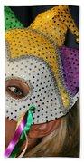 Blond Woman With Mask Beach Towel by Henrik Lehnerer