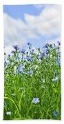 Blooming Flax Field Beach Towel by Elena Elisseeva