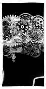 Brain Design By Cogs And Gears Beach Towel