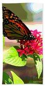 Butterfly Flowers Beach Towel