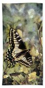 Butterfly On Yellow Flowers Beach Towel