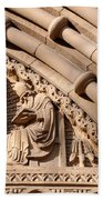 Carved Stone Biblical Mural Above Catholic Cathedral Doorway Beach Towel