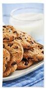 Chocolate Chip Cookies And Milk Beach Towel by Elena Elisseeva