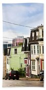 Colorful Houses In Newfoundland Beach Towel