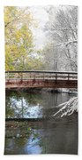 Composite Of Fall And Winter Beach Towel
