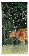 Cow In Pasture Beach Towel