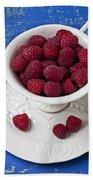 Cup Full Of Raspberries Beach Sheet