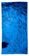 Diver And A Large School Of Bigeye Beach Towel