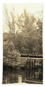 Dock On The River In Sepia Beach Towel