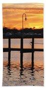 Dock Sunset Beach Towel