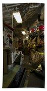 Firemen Combat A Simulated Fire Aboard Beach Towel